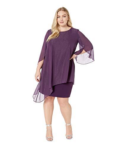 Tahari by ASL Womens Plus Size Metallic Overlay Dress