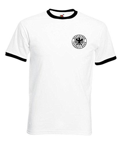 Camiseta de fútbol de Alemania, diseño retro blanco blanco large