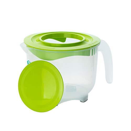 Hausfelder Messbecher Litermaß Set - 2l Rührschüssel mit Spritzschutz Deckel, spülmaschinengeeignet