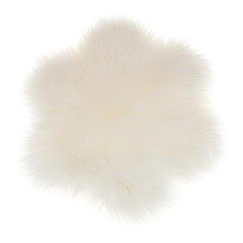 MagiDeal Blumen-Form Künstliche Schaffell Teppich in verschiedenen Farben, Größe: 60x60x6cm - Weiß -