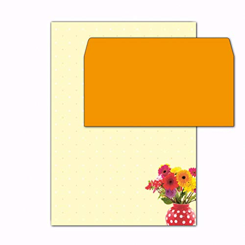 Papier + Umschläge DIN A4 Bunter Blumenstrauss / 50 Sets