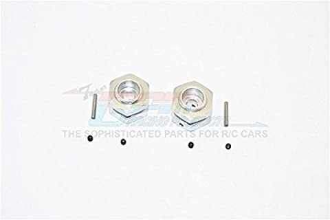 Aluminium Wheel Hex Adapter - 12mm Convert To 17mm and 7mm Offset With 17mm Lock Nut Anti-Loose Design - 2Pcs Set Silver