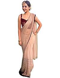 Swara Fashion Women's Nylon Net Thread Work Saree(SFA-3232_Cream)