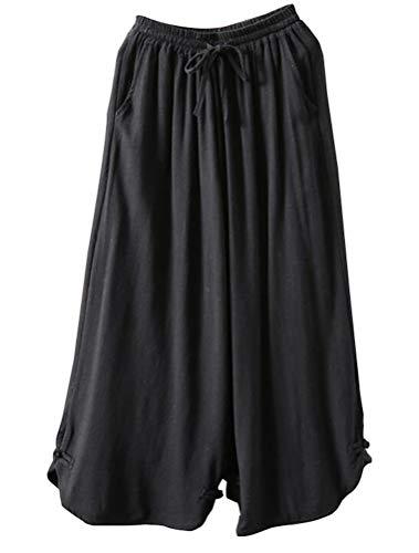 Mallimoda Damen Leinenhose Weites Bein Hose Elastische Taille Hosenrock mit Hüftgurt Art 2-Schwarz XXL (Relaxed Fit-yoga-hosen)