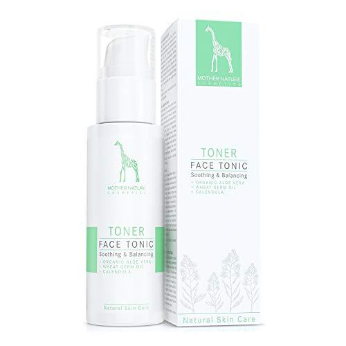 Face Tonic mit Bio-Aloe Vera, Weizenkeimöl und Calendula - NATURKOSMETIK VEGAN - 125 ml by Mother Nature Cosmetics - Gesichtswasser für normale Haut, Mischhaut und unreine Haut