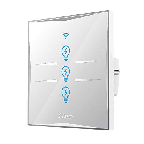 Interruptor de luz inteligente WIFI,funciona con Alexa y Google Home(3 pandilla)