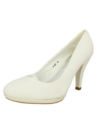 Boutique-Magique Chaussures de Mariée Blanches Scintillantes Princesse