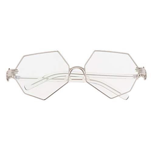 Homyl Metallrahmen Dekobrille Modisch Achteckig Rahmen Glasses Klare Linse Brille für Damen und Herren - Silber