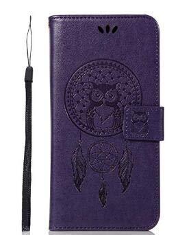 BCIT Xiaomi redmi Nota 5 Pro Funda - [Patrón de búho] Carcasa Libro de Cuero con Tapa y Cartera, Pelle Carcasa PU con TPU Silicone Caso Interna Suave para Xiaomi redmi Nota 5 Pro - Púrpura