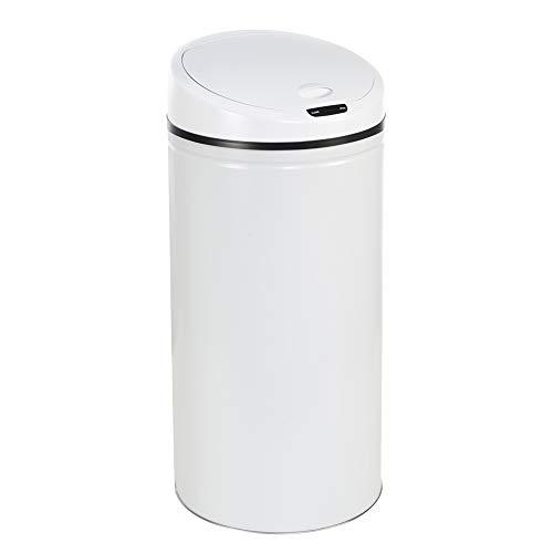 WIS Poubelle Automatique de Cuisine Rond Poubelle INOX Blanc 30L