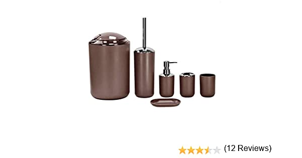cestino per l/'immondizia dispenser bicchiere set di 6 pezzi di accessori da bagno scopino Brown-m17 cestino porta sapone portaspazzolino Stella