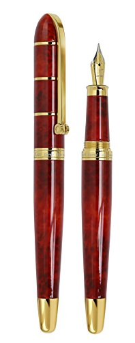 "Best Saving for Xezo ""Eternal Flame"" Hand-Enameled Solid Brass Serialized Fountain Pen, 18-Karat Gold Plated, Screw-on Cap. Fine Nib Reviews"