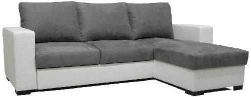 Pole DIANAAMR1941 Dodi Angle Canapé Convertible Réversible Look Blanc / Microfibres Gris Souris
