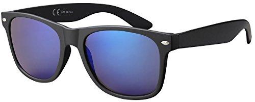 Originale la optica uv400 occhiali da sole specchiata stile wayfarer - confezione singola opaca nero (lenti: blu specchiato)