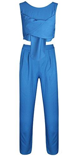 Fancyinn Frauen 2 Stücke Set ärmellose Top und lange Hosen Cocktail Party Style Blue