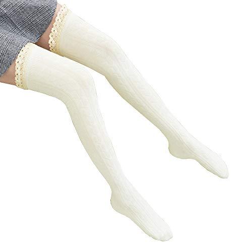 ODJOY-FAN 68cm Frau Spitzenkante Stricken Socken Warm Strumpf Spitze Boot Manschetten Wärmer Baumwolle Mischung Bein Lange Tube Strümpfe Verdicken Baumwollsocken Socks (Weiß,1 Set)