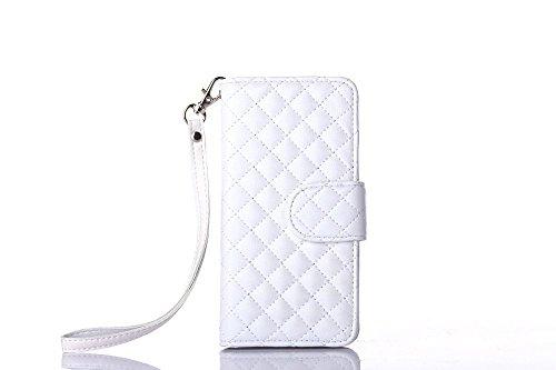 Lamm-gurt (Für Samsung Galaxy S6 Edge hülle, iNenk® PU Leder Telefon Shell Lamm-Gurt Gitter Muster Brieftasche Phone hülle Retro Karte Halfter Handyhülle Für Frauen-Weiß)