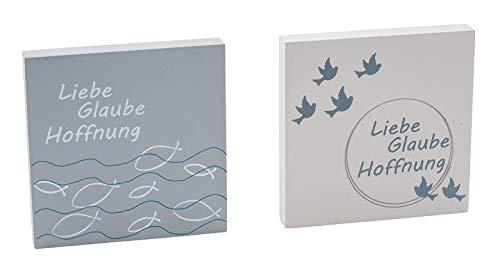 2er Set Mini-Holzschilder GLAUBE Liebe Hoffnung Geschenk-Idee Konfirmation Kommunion Firmung Hochzeit & Taufe Geld-Geschenke Tisch-Dekoration