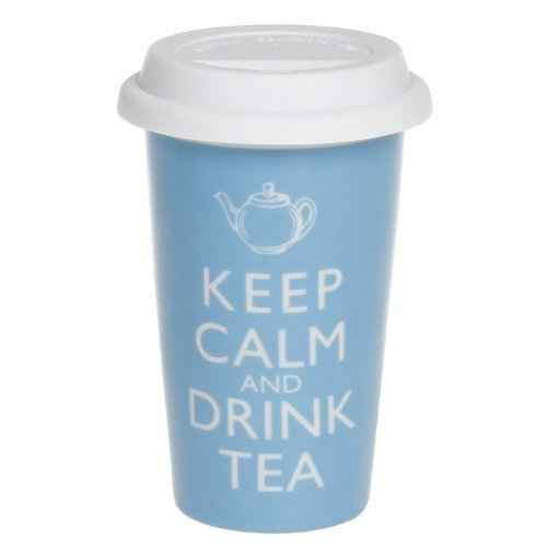 "Keep Calm - Tasse Mug à Emporter en Silicone - ""Keep Calm And Drink Tea"" - 16cm"