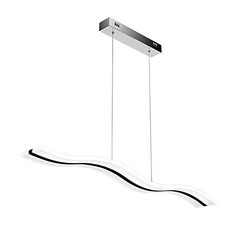 SAILUN® 36W LED Blanc Froid Acrylique Suspendu Ondulation Lustre Curve Pendentif Lampe Creative Lustre Lustres pour Salle À Manger Salon, Forme d'Onde (36W Blanc Froid)