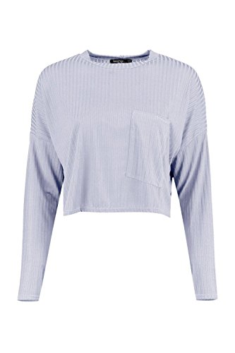 gris Femmes Elena T-shirt Côtelé À Détail Poche Gris