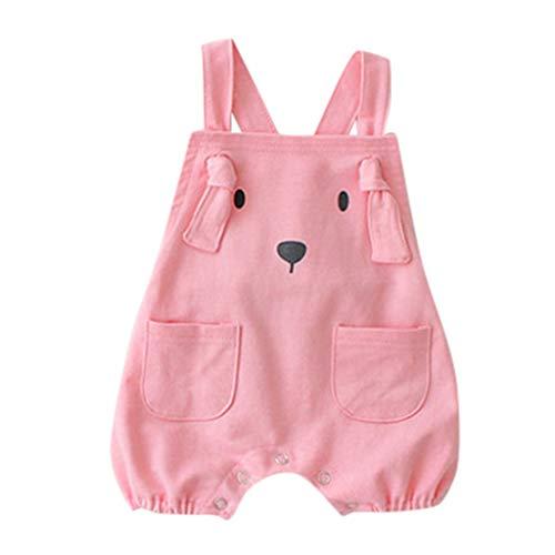 feiXIANG Baby Jumpsuit Trägerhose Overall Cartoon Welpe Kostüm Neugeborene Spielanzug für Jungen und Mädchen(Rosa,80)