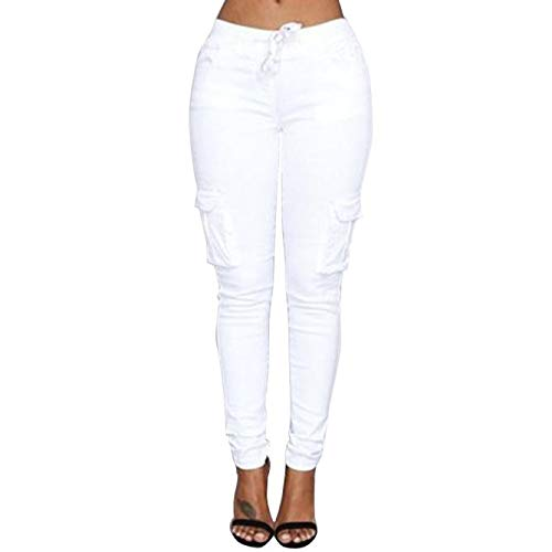 GreatestPAK_Pantalon Pantalons élastiques, Femme Crayon Jeans Taille Haute Extensible Pantalon avec Poche (XL, Kaki)