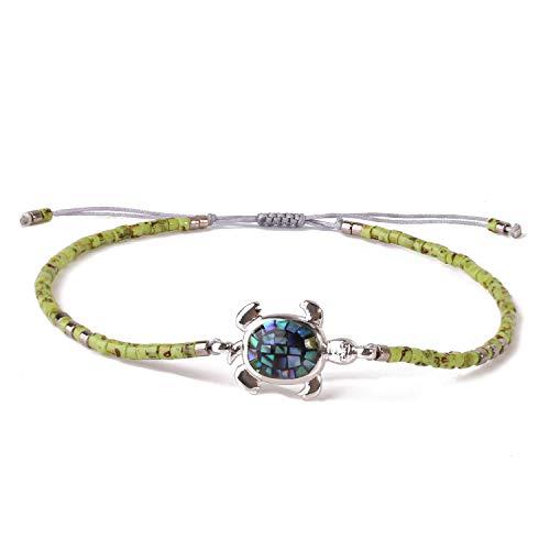 KELITCH Abalone Schale Wulstig Armband Einstellbar Knoten Schildkröte Anhänger Samen Perlen Wickeln Armband Freundschaft Schmuck (Gras Grün)