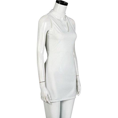 Sannysis Damen A Linie kurzen Kleid Party Abend Minikleid Weiß