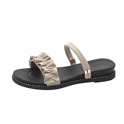 Sandales Femmes Plates Grande Taille,LANSKIRT Chaussures Plates en Dentelle Chaussures De Plage Antidérapantes Sandales Et des Pantoufles