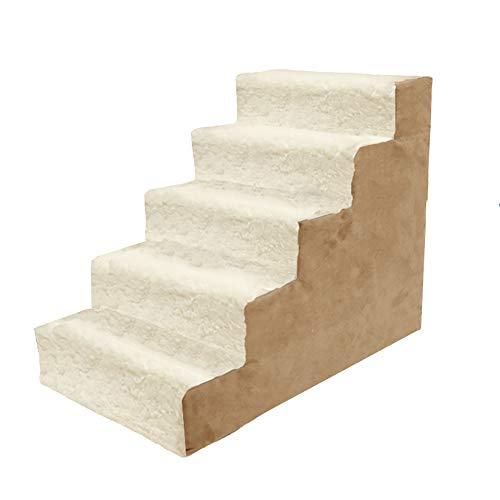 LQQGXL-Haustreppe 5-stufige Hundetreppe auf einem hohen Bett, Haustierrampe Haustierleiter Katze und Hund, abnehmbar waschbar (Farbe : Beige)