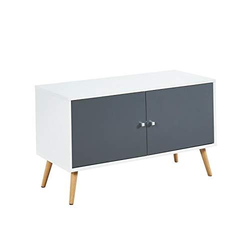 BABETTE Meuble TV scandinave decor blanc et gris + pieds bois - L 90 cm