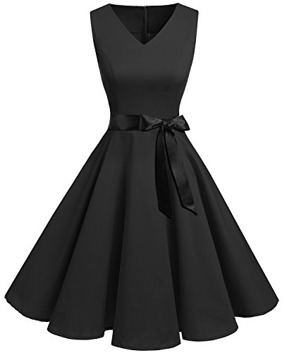 bridesmay bridesmay 1950er Vintage Rockabilly V-Ausschnitt Kleid Retro Cocktailkleid Faltenrock Black S