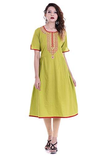 Palakh Women's Cotton A-line Embroidered Kurti (PK1015530-XXL_XX_Large,Light Green)