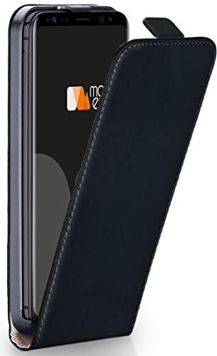 MoEx® Flip Case mit Magnetverschluss [Rundum-Schutz] passend für Samsung Galaxy S8 | 360° Handycover aus feinem Premium Kunst-Leder, Schwarz