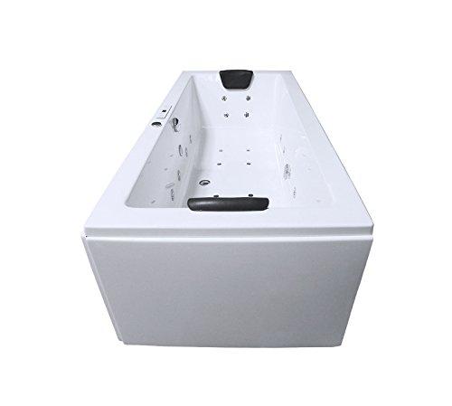 Whirlpool Badewanne Rechteck - Rügen Premium 2 Personen Made in Germany Whirlwanne Indoor NEU (190x90x62 cm)