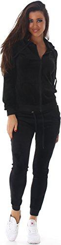 Jela London Damen Velours Samt Jogginganzug Hausanzug Jacke & Hose, Black L (Sexy Frauen Anzüge)