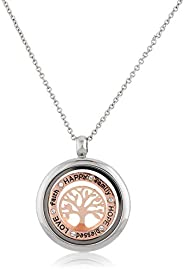 MESTIGE Women Crystal Inscribed Tree of Life Floating Charm Necklace with Swarovski Crystals