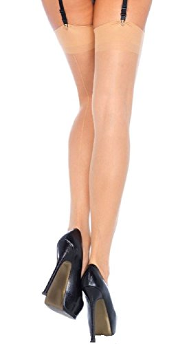Leg Avenue Damen Straps Strümpfe mit Naht hinten in nude transparent Einheitsgröße ca. 38 bis 40 (Fischnetz-strümpfe Naht)