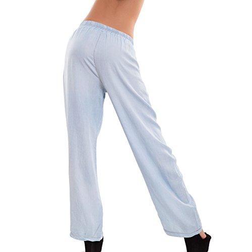 Toocool - Pantaloni donna palazzo effetto jeans ampi cavallo basso elastic nuovi CJ-2200 Blu chiaro
