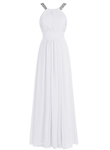Bbonlinedress Robe de cérémonie Robe de soirée en mousseline forme empire longueur ras du sol Blanc