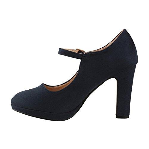 Elara Damen Pumps | Bequeme Riemchen High Heels | Vintage-Style | Abendschuh Trendy | Chunkyrayan | 8906 Blue-40 - 2