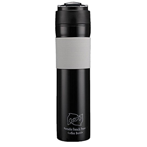LiPing - Taza de viaje reutilizable con filtros de café, portátil, diseño de prensa francesa
