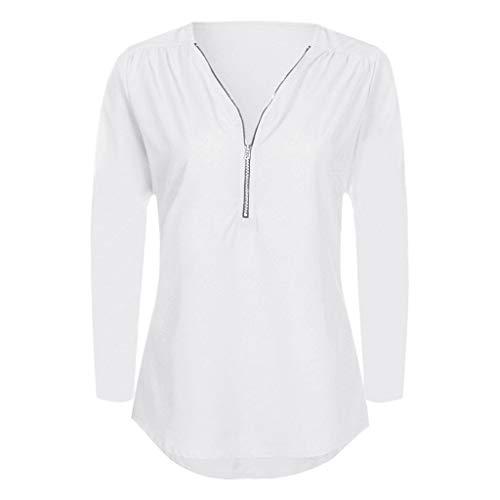 iYmitz Damen Solide Langarm Knopf Bluse Pullover Tops Shirt Mit Taschen(X11-Weiß,EU-46/CN-2XL)