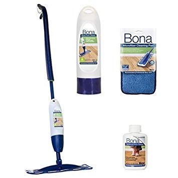 Bona, kit con mocio e spray per pavimenti in legno, con ricarica concentrata da 59 ml