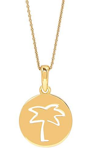 Malaika Raiss Halskette Damen Gold Palm Tree runder Anhänger Gravur Palme Silber 24 Karat Vergoldet Hochglanz - N3197 (Karat 24 Gold Kette)
