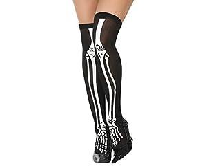 Atosa-33638 Medias Halloween Huesos Con Flor, Color negro (33638