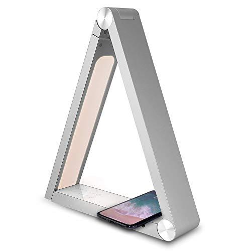 Touch Dimmbare Schreibtischlampe Klappdreieck Qi Kabellose Lade Nachtlicht Premium Metall 3 Farbtemperaturen 5 Helligkeitsstufen 2 * USB Eye Care Tischleuchte,White