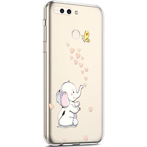 kompatibel mit Huawei Honor 8 Pro Hülle,Transparent TPU Silikon Handyhülle Schutzhülle Niedlich Muster Ultra Dünn Silikon TPU Bumper Rückschale Case Cover für Huawei Honor 8 Pro,Elefant