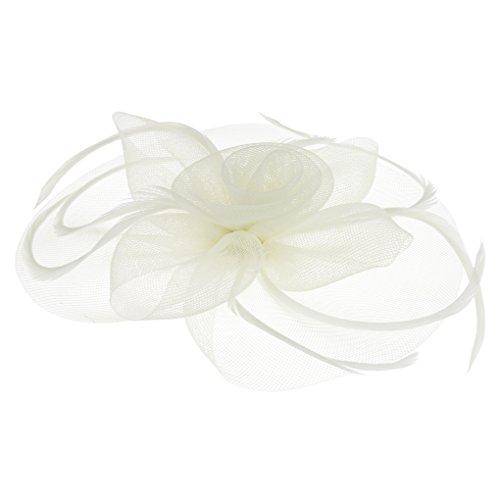 Tüll Fascinator Hüte mit Feder,Blumen Haar Clip Haarreif Haar Accessoire Schleier Tea Party Hochzeit Kirche Haarschmuck Kopfschmuck Kopfbedeckung für Frauen,Beige - Hüte Braut Der Mutter